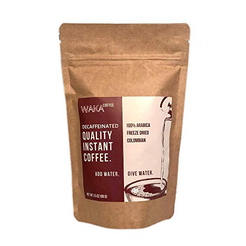 Waka Coffee Quality Decaffeinated Instant Coffee, Colombian, Medium Roast | 100% Arabica, Freeze Dried, 35 Servings in a 3.5 oz Resealable Bag | Add Water, Give Water