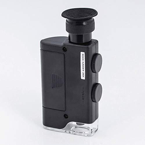 Chenbz Palm luz LED 200X ~ 240X ampliada Lupa microscopio de lámpara Mini portátil de Bolsillo de Lente de la Lupa (Color : Black, Magnification : 200x 240x)