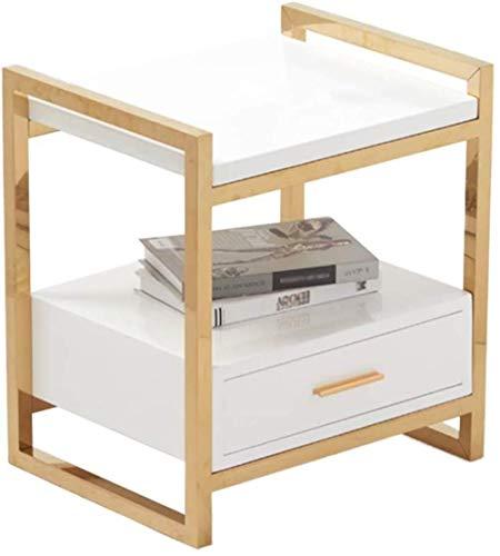 TXC Nachtkastje, 2-laags, multifunctioneel ijzer soort massief hout theetafel creatief slaapkamer woonkamer speeltafel klein formaat Wit