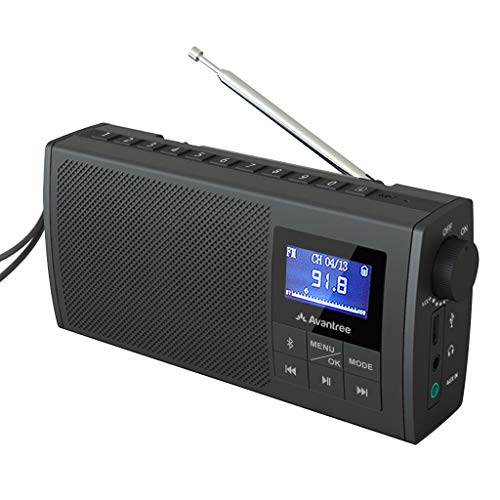 Avantree Soundbyte Pequeña Radio FM portátil & Bluetooth 5.0 Altavoz 2 en 1, Stereo Dual Sonido 6W, FM Auto Scan, Antena telescópica retráctil Gran recepción, Batería Recargable (No SD Card No Am)