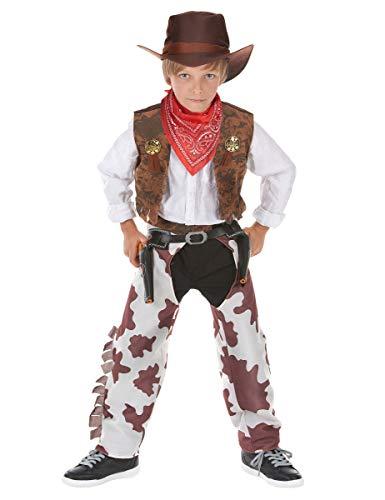 KULTFAKTOR GmbH Kleiner Cowboy Kinderkostüm Wilder Westen braun-Weiss 110/122 (4-6 Jahre)