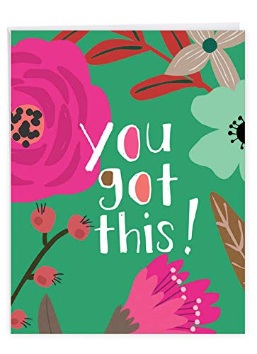Optimisms - Inspirational Congratulations Greeting Card with Envelope (Big 8.5 x 11 Inch) - Colorful Artistic Flowers, Encouragement Note - Congrats Notecard From All of Us J6631ECGG-US