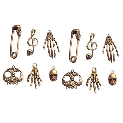 HEALLILY 18 stücke Halloween Charme Metall schädel Skeleton Halskette anhänger DIY schmuck Machen liefert für Halloween Party Favors Bronze