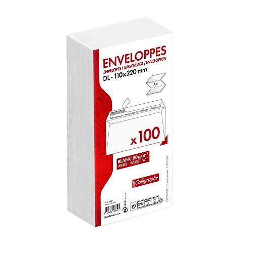 Calligraphe (gamme correspondance Clairefontaine) 5665C - Un paquet de 100 enveloppes auto-adhésives blanches 11x22 cm 80 g sous film