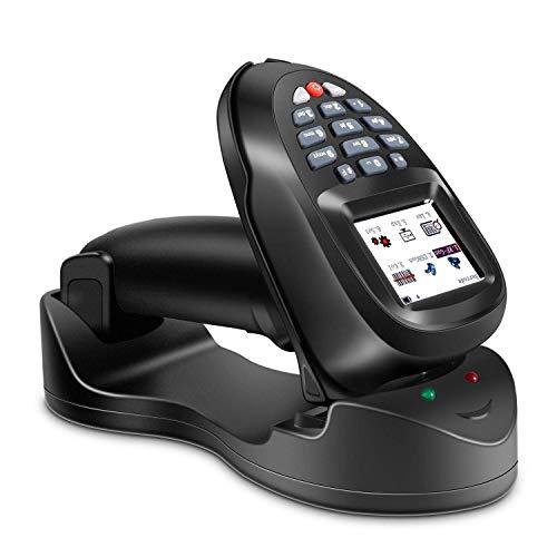 FOFO Barcode Scanner USB, sans fil 1D Barcode Scanner de poche sans fil Laser Bar-lecteur de code avec écran LCD TFT couleur intelligente, USB rechargeable Bar automatique scanner de code