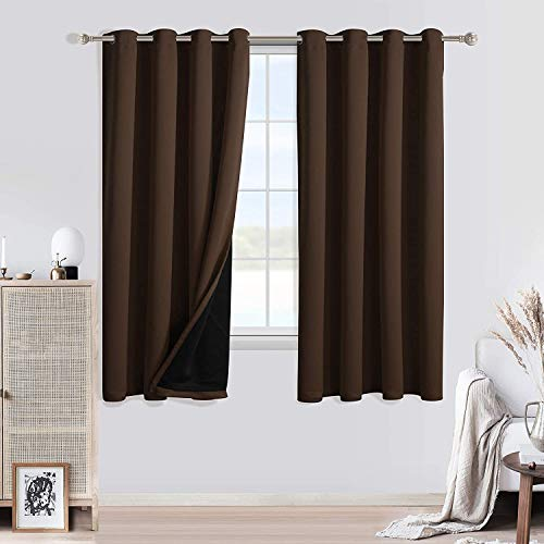 WONTEX 100% Blackout Curtains for Bedroom - Thermal Insulated, Energy Saving and Noise Reducing 2 Layers Lined Window Curtain Panels for Living Room, Brown, 52 x 45 inch, Set of 2 Grommet Curtains