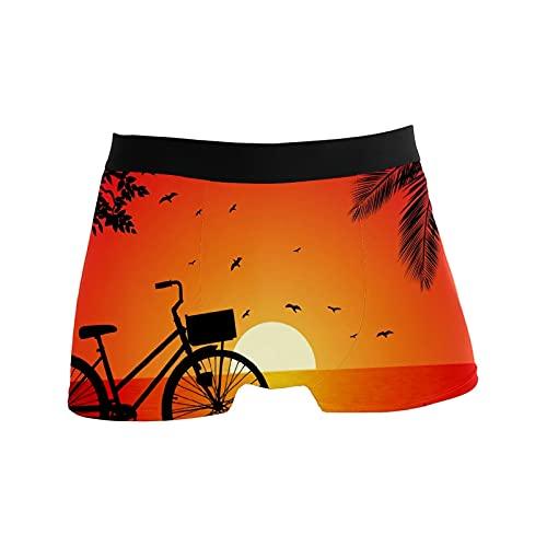 Riverside Bike Sunset Fahrrad Boxershorts für Männer Jungen Jugend Weiche Komfort Unterwäsche Polyester Spandex, mehrfarbig, S