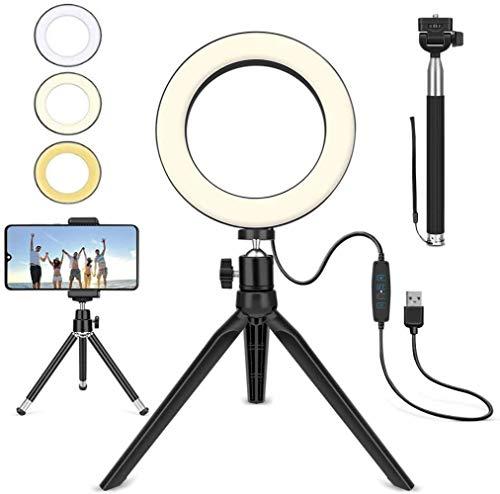 XXT Llenar la luz 6 pulgadas USB accionado belleza lámpara selfie lámpara 3 color ajustable temperatura anillo lámpara