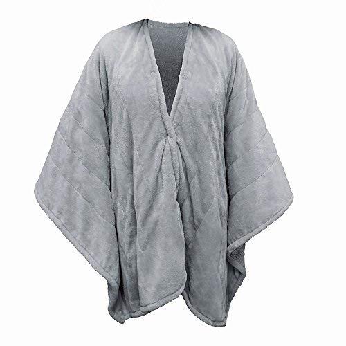 Serta | Wearable Silky Plush Heated Wrap / Throw Blanket (Gray)