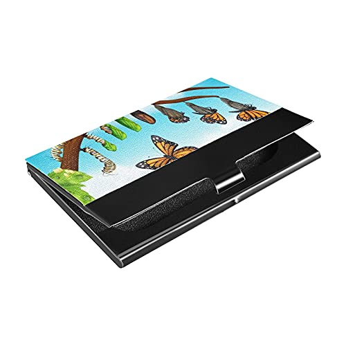 Porte-cartes de visite en cuir PU de luxe, étui multi-cartes, illustration du cycle de vie des papillons, étui pour cartes de visite, porte-monnaie, porte-cartes de crédit pour hommes, femmes
