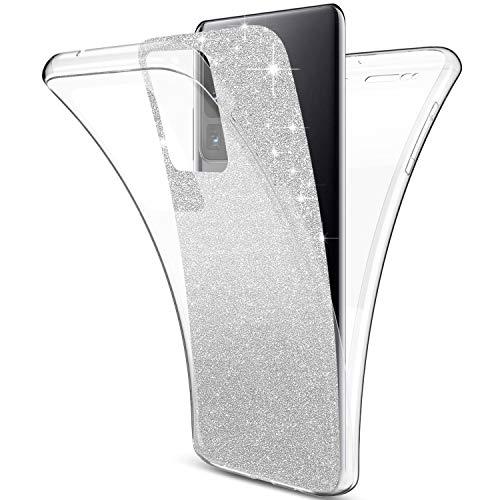 Herbests Kompatibel mit Samsung Galaxy S20 Ultra Hülle 360 Grad Full Body Cover Transparent TPU Silikon Hülle Vorne und Hinten Handyhülle Glänzend Glitzer Bling Durchsichtige Tasche Case,Silber