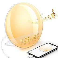 Dekala Smart Sunrise Alarm Clock Radio with Sound Machine Wake Up Light Alarm Clock for Kids 4 Sleep Aid Sound Radio Work with Alexa Sunset Dawn Simulator 7 Natural Sound Night Light Snooze