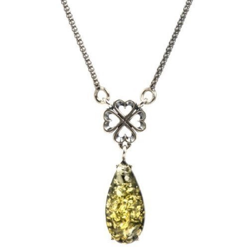 Sterling Silver Green Amber Celtic Drop Necklace 15 Inches