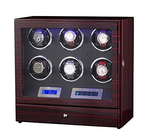 6 + 0 Reloj de Madera automático Mando a Distancia con Control Remoto Pantalla táctil LCD Rotación de devanadores Premium Silent Motor Pine Box con Cerradura de cajón