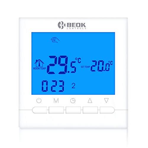Beok BOT-313W.BL Wired Gas Boiler raumthermostat Programmierbare LCD Gas Kessel Raum thermostat Smart Temperature Controller Kontrolle, AA Batterie Betrieben, Blau Hintergrundbeleuchtung, 1.5V