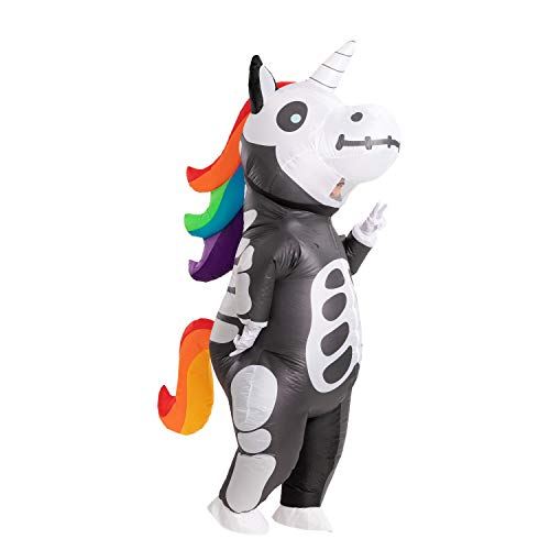 Spooktacular Creations Inflatable Costume Unicorn Full Body Unicorn Air Blow-up Deluxe Halloween Costume – Adult Size (Skeleton)