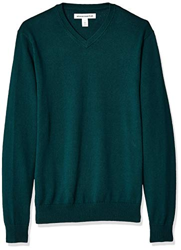 Amazon Essentials Men's V-Neck Sweater, Forest Green, Large