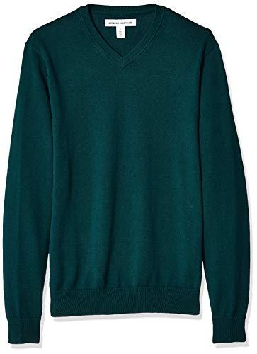 Amazon Essentials Men's V-Neck Sweater, Forest Green, Medium
