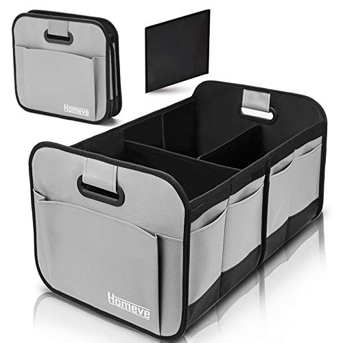 Foldable Trunk Storage Organizer Reinforced Handles Suitable for Any Car SUV Minivan Model Size Grey