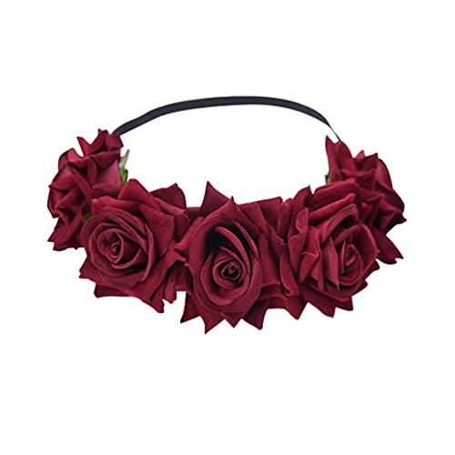 Corona flor diadema corona señoras señoras novia boda fiesta decoración tocado AOOF regalo del día de San Valentín (rojo vino)