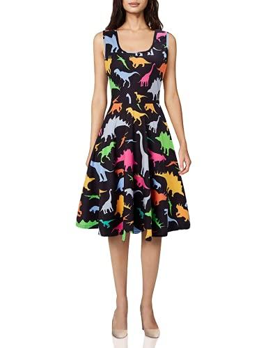 uideazone Womens Print Dinosaur Summer Sleeveless Dresses Cute Sundress