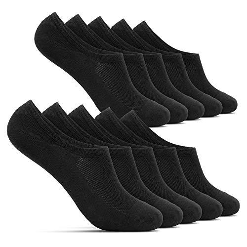 ROYALZ Sneaker Socken für Damen und Herren 10 Paar kurze unsichtbare Füßlinge - bequem modern atmungsaktiv, Größe Socken:43-46, Set:10 Paar/Schwarz