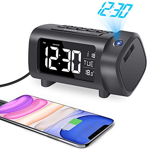 Liorque Projection Alarm Clock with FM Radio, Temperature Monitor, USB Charger, Weekend Mode, 2-Color VA Display with 4 Dimmer,℃/℉Switch, DST, Sleep Timer, Snooze, 12/24H