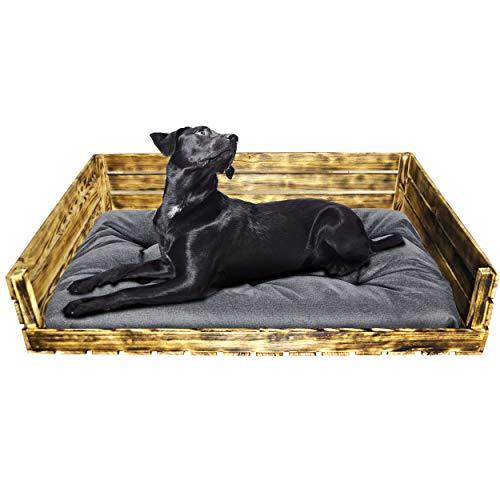 SuperKissen24 Hundebett Hundekorb Tierbett Katzenbett mit Holzkiste für Kleine, Mittlere und Grosse Hunde - Waschbar - Größe L - Schwarz und Grau