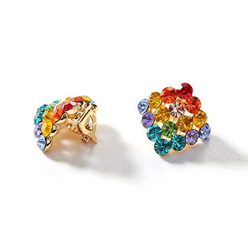 RONGW JKUNYU Personality color crystal geometric square trendy temperament earrings female