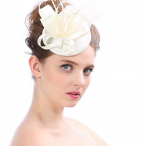 mjy Hut - Damen Herbst und Winter Tiara handgemachte Kopfschmuck europäischen und amerikanischen kreative Bogen Braut Hut sexy Feder Party Haarspange Kappe,Elfenbein,13 * 15 cm