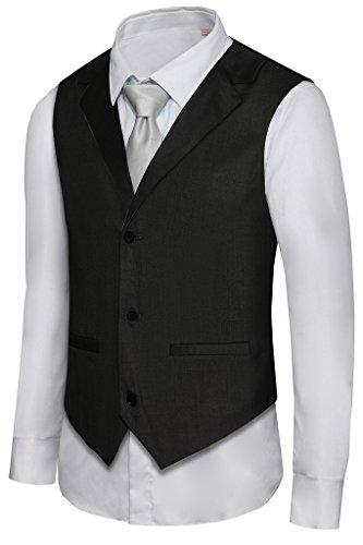 Hanayome Men's Formal Vest Casual Waistcoat Dress Vests Jackets VS05£¨Black,XXL£