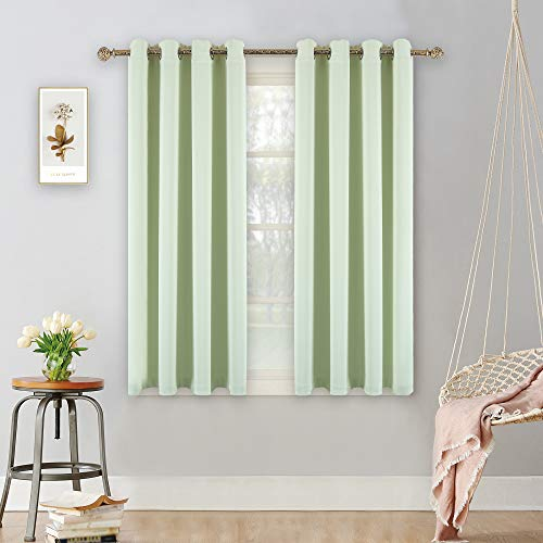 YGO Thermal Insulated Blackout Curtains Premium Quality Top Grommets Blackout Drapery Curtains for Kids Room 1 Pair 52x45 inch Pea Green