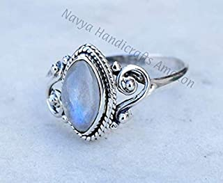 925 Sterling Silver Rainbow Moonstone Ring Size US 8 - Rainbow Stone Gemstone Statement Ring Gift Jewellery For Girl Women
