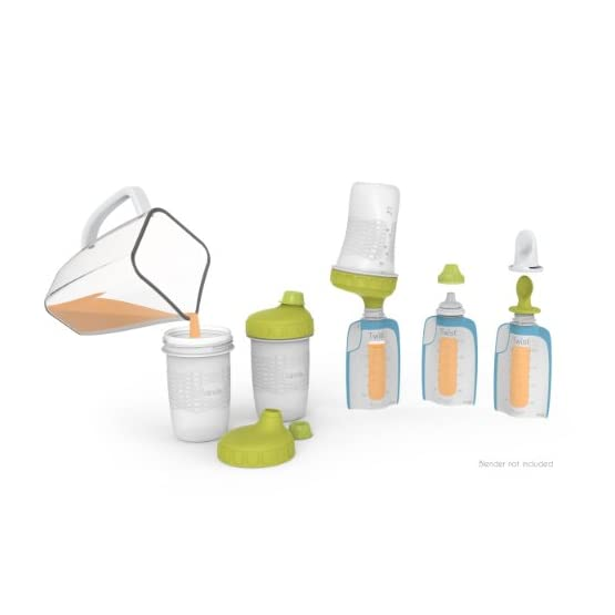Kiinde Foodii Baby Food Maker System for Homemade Squeeze Pouches with Reusable Spouts, Spoons, Food Storage Pouch…