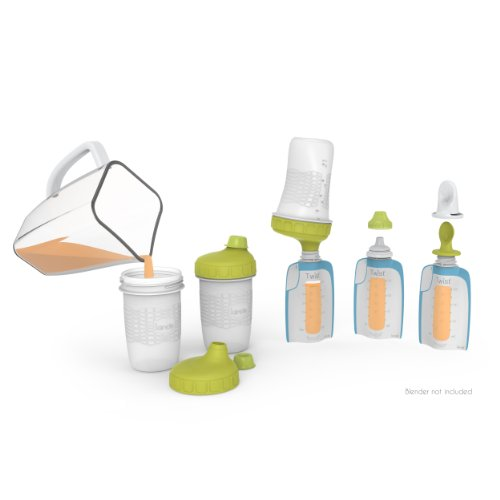 Kiinde Foodii Baby Food Maker System for Homemade Squeeze Pouches with Reusable Spouts, Spoons, Baby Food Storage Pouch Starter Kit