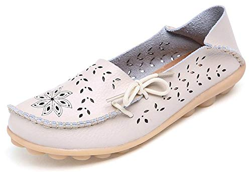 Eagsouni Damen Mokassins Bootsschuhe Leder Loafers Freizeit Schuhe Flache Fahren Halbschuhe Casual Slippers, Beige B, 43 EU