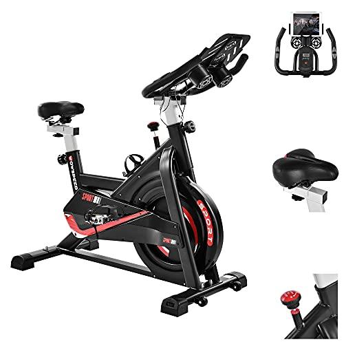 Bicicleta estática ajustable para interior con pantalla LCD y pulsómetro y soporte para botellas, hasta 150 kg, dispositivos de fitness para uso en casa y en el gimnasio (105 x 56 x 109)