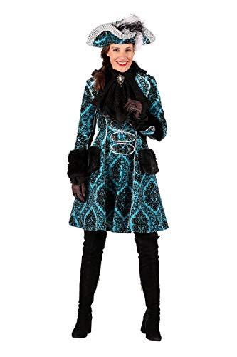Thetru Damen Kostüm Brokat Garde Uniform Mantel türkis Karneval Gr.S