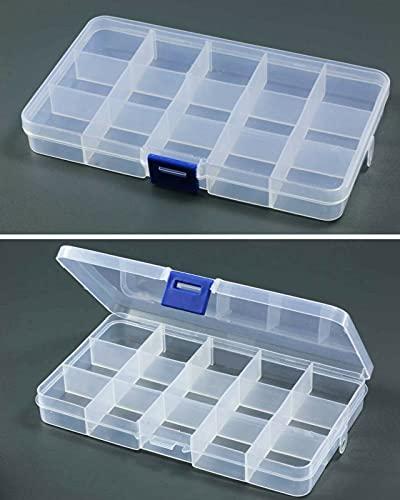 Inwaria BB-10/2-5st - Caja clasificadora transparente, 15 compartimentos, 5 unidades