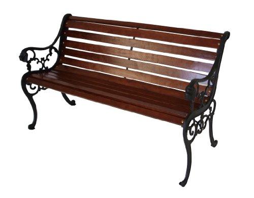 TPFGarden® Gartenbank SAARBURG 2-Sitzer, Gusseisen + Kiefernholz Mahagonifarben