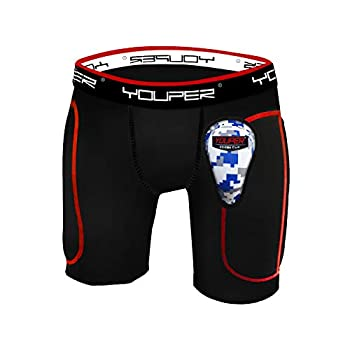 Youper Boys Youth Padded Sliding Shorts with Soft Protective Athletic Cup for Baseball Football Lacrosse Field Hockey MMA  Black Small