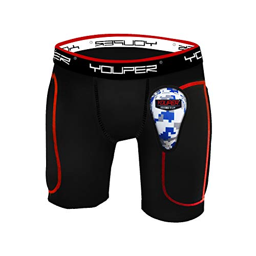 Youper Boys Youth Padded Sliding Shorts with Soft Protective Athletic Cup for Baseball, Football, Lacrosse, Field Hockey, MMA (Black, Large)