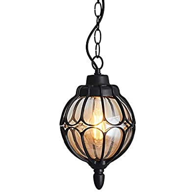 Injuicy Vintage Industrial E27 Edison Glass Pendant Lights Lamps Shades Waterproof Outdoor Courtyard Garden Aluminum Ceiling Lights Fixtures Balcony Aisle Corridor Hydrangea (Black & Dia. 7.1 Inch)