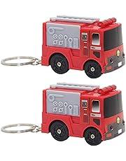 Amosfun Llavero de coche de bomberos, 2 unidades, para colgar en bolso o llavero, color rojo