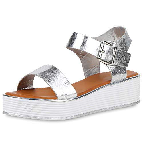 SCARPE VITA Damen Plateau Sandaletten Metallic Keilabsatz Schuhe Wedges Sommerschuhe Sandalen Plateauschuhe 192538 Silber 39