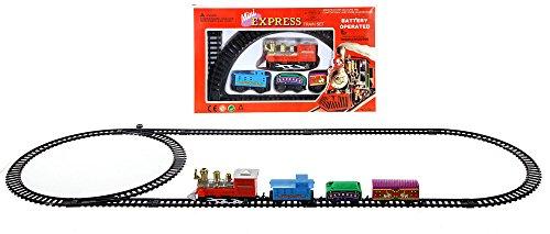 Mini Zug 11-teilig - Weihnachten Eisenbahn mit Lokomotive, 3 Waggons und 7 Schienen - Gesamtgröße ca. 78x28 cm