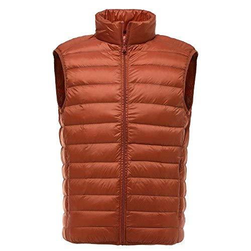 BAONUANY Gilet Mensen, Oranje Mannen Mouwloos Jas Winter Ultralight Witte Eend Down Vest Mannelijke Slim Vest Herenkleding Winddicht Warm Tailleband
