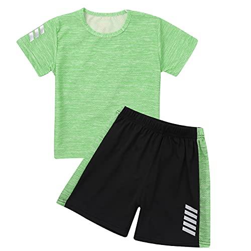 Jowowha Kinder Sport Kleidung Set Jungen Mädchen Sports Trikots Kurzarm T-Shirt und Shorts Sport Trainingsanzug Fussball Basketball Kleidung E Grün E 110-116