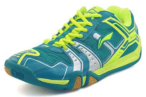 Li Ning Herren Saga TD Professionelle Badminton-Sportschuhe, Grn (A-Blue/Green/Silver), 45 EU