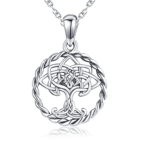 Tree of Life Necklace Celtic Knot Family Tree Pendant S925 Sterling Silver 18K Gold White Gold Plated Necklace for Women and Girls with Gift Box (Silver-B)